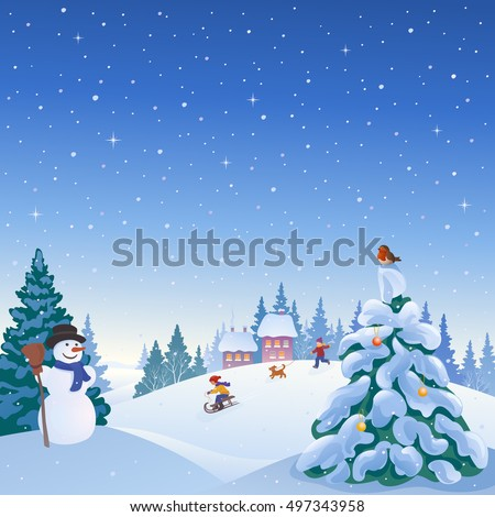Vector cartoon illustration of a winter snowy village with a snowman, playing kids and snow covered Christmas tree
