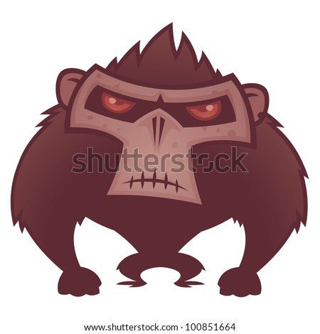 Vector cartoon illustration of an angry ape with red eyes. - stock vector