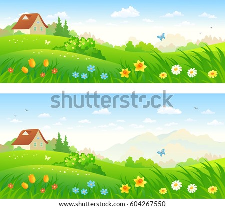 Vector cartoon illustration beautiful country landscapes stock vector cartoon illustration of beautiful country landscapes with spring flowers panoramic banners sciox Images