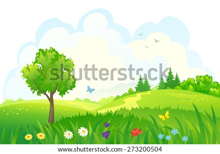 Vector cartoon illustration of beautiful summer green meadows and woods - stock vector