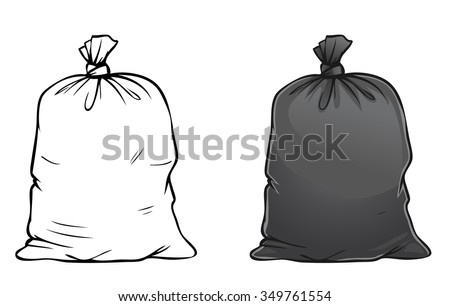 Vector cartoon illustration of black full trash bag isolated on white - stock vector
