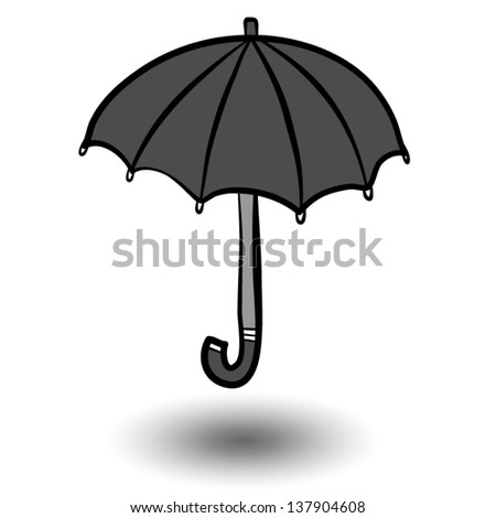 vector cartoon, illustration of black umbrella and shadow / isolated on white background.