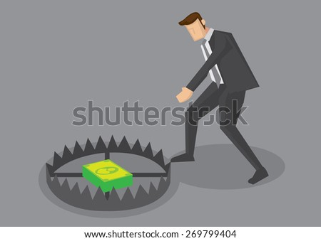Vector cartoon illustration of businessman tempted to reach for money inside trap. Creative vector illustration for business concept for greed and money trap. - stock vector