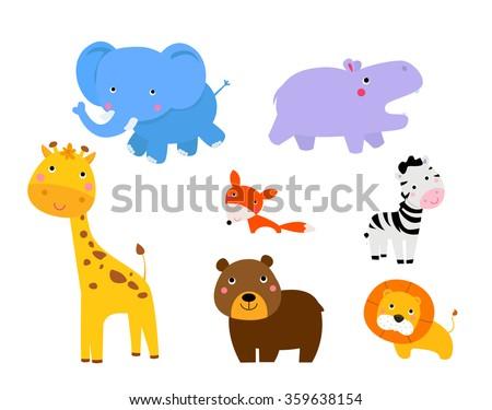 Vector cartoon illustration of cute animals collection - stock vector