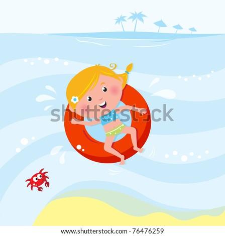 Vector cartoon illustration of cute swimming child. - stock vector