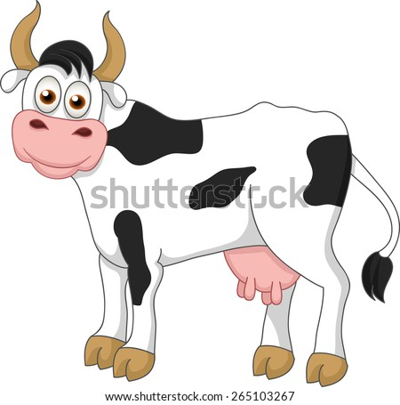 Vector cartoon illustration of funny smiling cow with horn and udder isolated on white background
