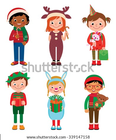 vector cartoon illustration of kids in costume of christmas isolated on white backgroundchildren in - Cartoon Picture Of Children