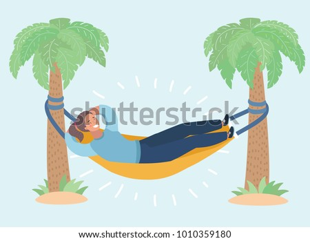 vector cartoon illustration of lady lay in the hammock attached to palm trees  lazy vacation vector cartoon illustration lady lay hammock stock vector      rh   shutterstock