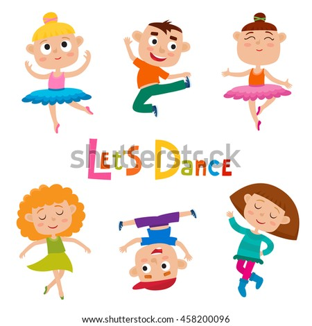 Vector Cartoon Illustration Of Little Graceful Girls Dancer And Happy Hipster Boys Isolated On White