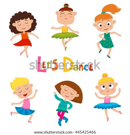 Vector Cartoon Illustration Of Little Graceful Girls Dancer Isolated On White Set