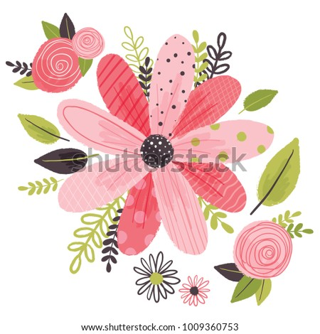 Vector cartoon illustration red pink flowers stock vector 2018 vector cartoon illustration of red and pink flowers and leaves arrangement isolated against white background mightylinksfo