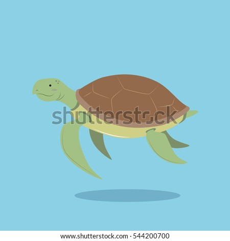 vector cartoon illustration sea turtle flat stock vector 2018 rh shutterstock com Colorful Sea Turtles Heart Vector