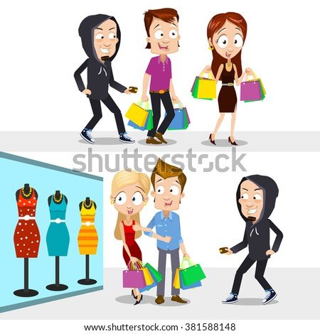 Vector cartoon illustration of thief stealing wallets of happy people buying clothing - stock vector