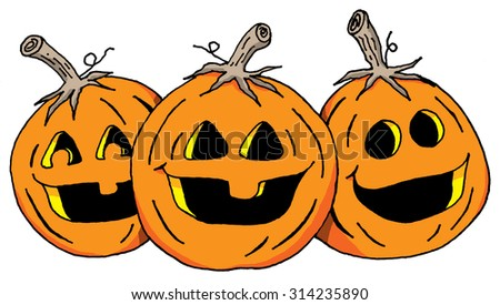Vector Cartoon Illustration of Three Smiling Pumpkins