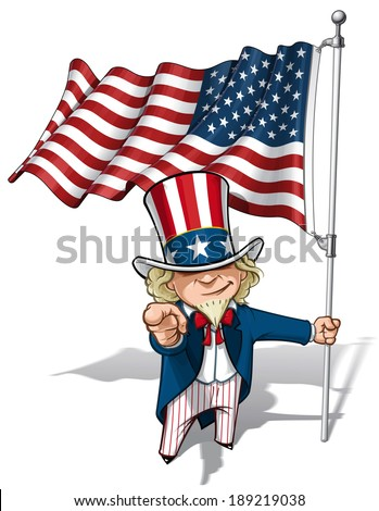 "Vector Cartoon Illustration of Uncle Sam holding a waving American flag and pointing ""I want you"" like the classic WWI poster."