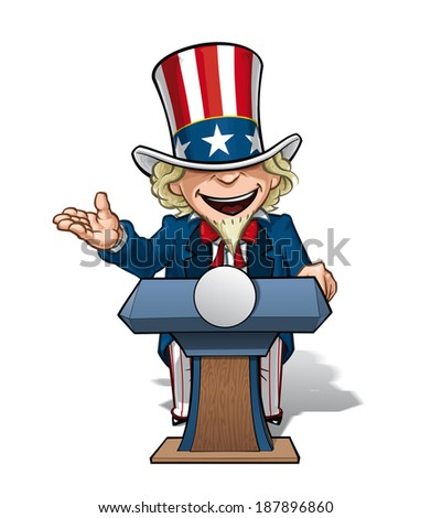 Vector Cartoon Illustration of Uncle Sam on the podium, giving a speech with an open expression. - stock vector