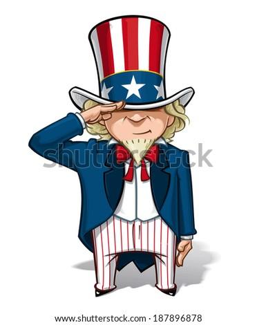 Vector Cartoon Illustration of Uncle Sam saluting. - stock vector