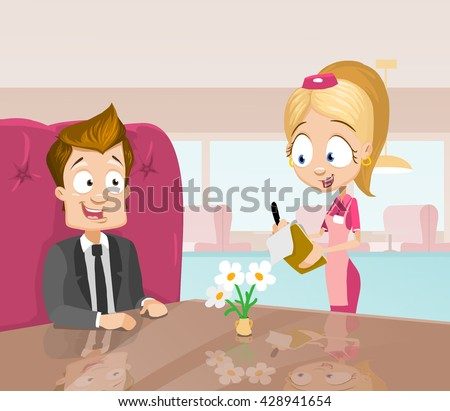Vector cartoon illustration of young businessman ordering in a cafe. Waitress taking order.