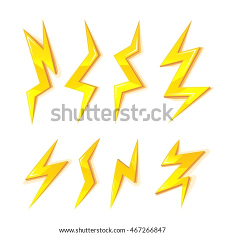 vector cartoon illustration set of gold Lightning Bolts. game ui elements isolated on white background