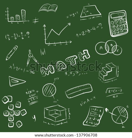 vector cartoon, illustration set of mathematics symbol, equipment. math subject at school. white lined sketch, chalk style image isolated on green background - stock vector