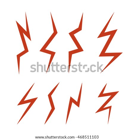 vector cartoon illustration set of red Lightning Bolts. game ui elements isolated on white background