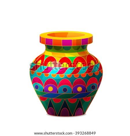 Vector Cartoon Illustration Vintage Volume Vase Stock Vector