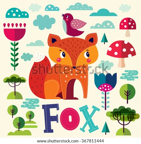Vector cartoon illustration with cute fox - stock vector
