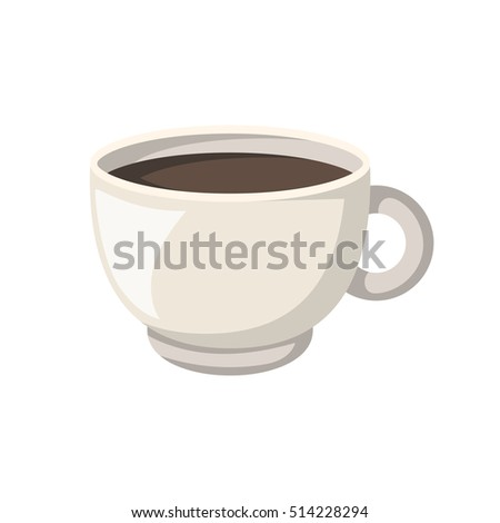 Vector cartoon illustration with isolated teacup and brown tea. Vector tea time or ceremony icon. Isolated ceramic cup on white background. Hot warm beverage. Traditional english drink