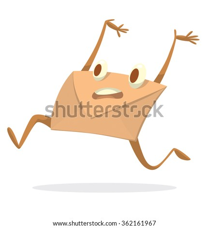 Vector cartoon image of a beige envelope with eyes, arms and legs quickly running to the destination on a white background. A quick letter. Icon e-mail. Vector illustration.