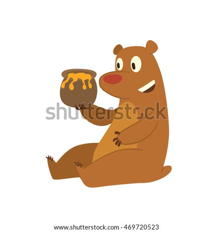 Vector cartoon image of a cute brown bear sitting with a pot of honey in his paw and smiling on a white background.