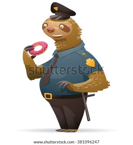 Vector cartoon image of a cute light brown sloth in black-and-blue police uniform and a black cap with a donut in his paw and baton on belt on white background. Parody. Policeman. Vector illustration
