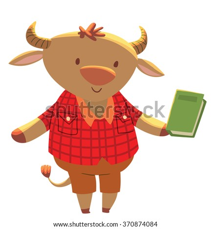 Vector cartoon image of a cute little light brown bull - schoolboy in brown shorts and red plaid shirt with green book in his hoof on a white background. School education animals. Vector illustration. - stock vector