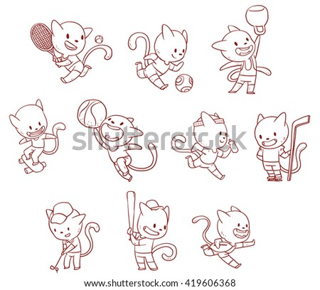 Vector cartoon image of a line set of cute cats engaged in variety of sports on a white background. Tennis, football, weightlifting, skateboarding, basketball, running, football, golf, baseball, rugby - stock vector