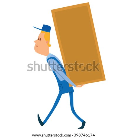 Vector cartoon image of a porter man with blond hair. Man in blue overalls and cap. Porter man is carrying a large rectangular yellow box behind his back. Cartoon loader man.  Vector illustration.  - stock vector