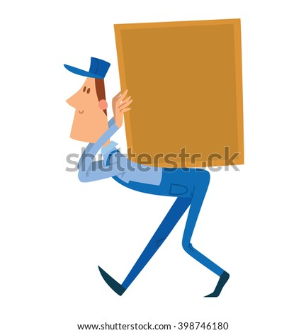 Vector cartoon image of a porter man with brown hair. Man in blue overalls and cap. Porter man is carrying a large square yellow box on his back. Cartoon loader man. Vector illustration.  - stock vector