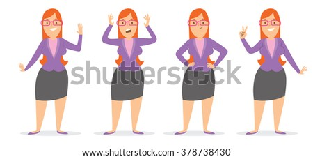 Vector cartoon image of a set of a business woman wearing glasses with long red hair in a black skirt and purple blouse, in different poses, smiling on a white background. Vector illustration.  - stock vector