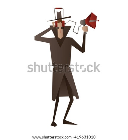 Vector cartoon image of a spy in a black coat, a hat and sunglasses in headphones with the device for wiretapping in hand on a white background. Surveillance, paranoia. Big brother is watching you. - stock vector