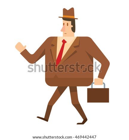 Vector cartoon image of a square businessman in a brown suit and a hat with a brown briefcase in his hand walking on a white background. Geometric businessman.