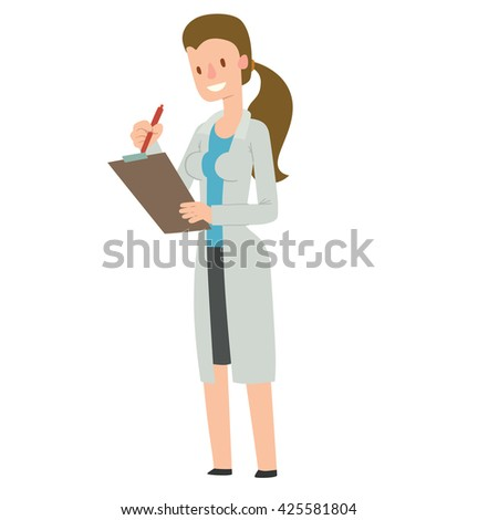 Vector cartoon image of a woman doctor with long brown hair in white medical coat and black skirt  with a clipboard and a pen in her hands, standing and smiling on white background. Health, treatment. - stock vector