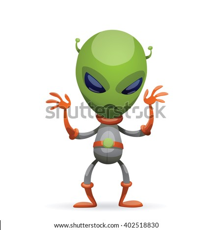 Vector cartoon image of funny green alien with big eyes and a small antennas on his head in gray-orange spacesuit, standing and frightening someone on a white background. Vector illustration. - stock vector