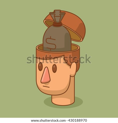 Vector cartoon image of the head of a man with brown hair and with an open braincase from which appears the gray bag with money on a green background. Business, success. Vector illustration. - stock vector