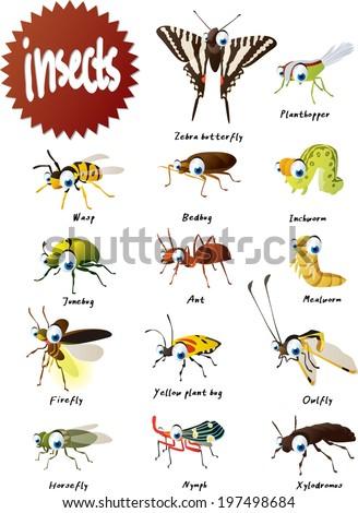 Vector Cartoon Insects Big Set - stock vector