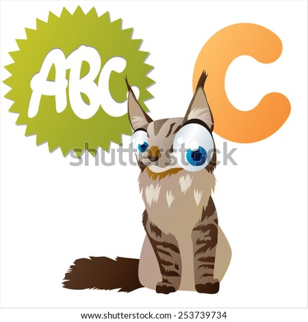 vector cartoon isolated animals abc: C is for Cat - stock vector
