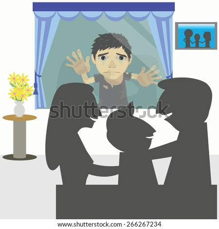 Vector cartoon kids begging poor peek into the window and saw a family of people who are happy and cry with envy.