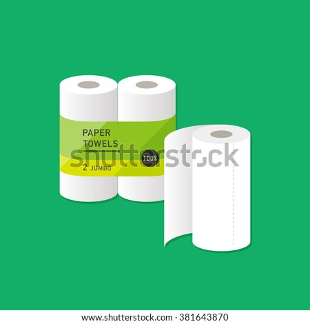 vector cartoon kitchen paper towel / package, wrapping design / flat style, icon template / green on white - stock vector