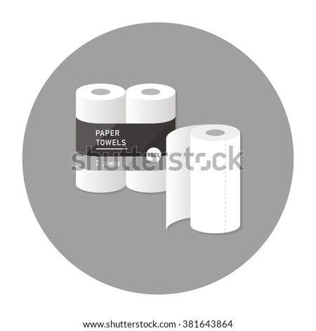 vector cartoon kitchen paper towel / package, wrapping design / flat style, icon template / grey on white - stock vector