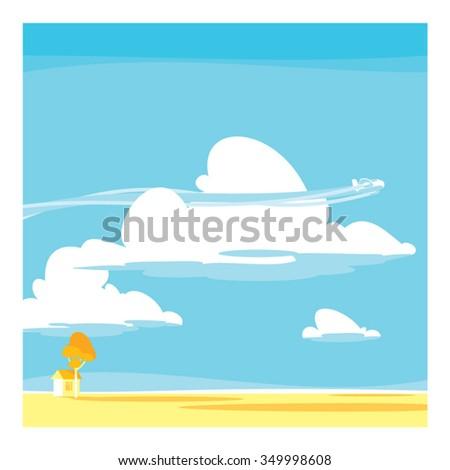 Vector cartoon landscape. clouds - stock vector