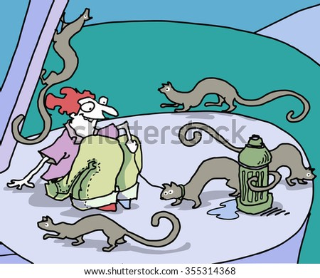 vector cartoon man with weasels