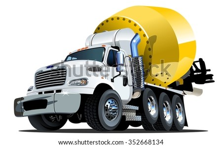Vector Cartoon Mixer Truck Available EPS-10 vector format separated by groups and layers with transparency effects for one-click repaint - stock vector