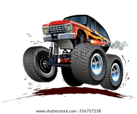 Vector Cartoon Monster Truck. Available EPS-10 vector format separated by groups and layers for easy edit - stock vector